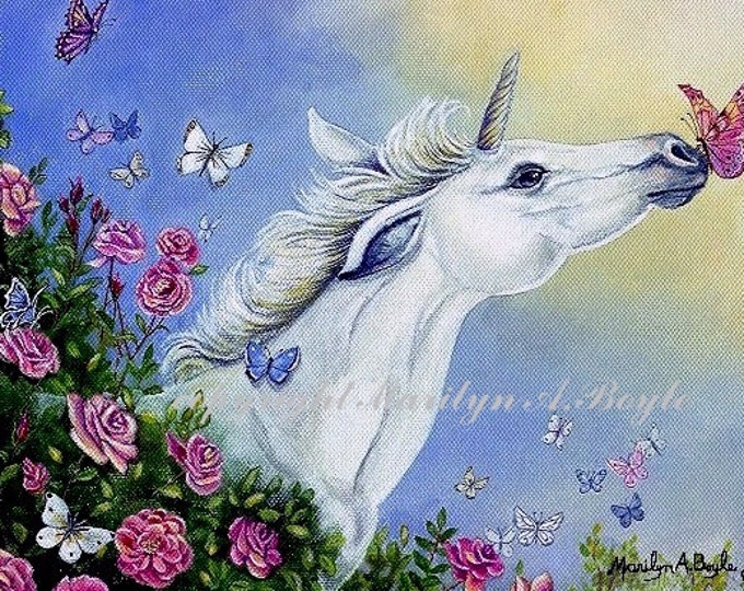 ACEO LIMITED EDITION Print, run of 15, unicorn foal, butterflies, fantasy, roses, flowers, garden