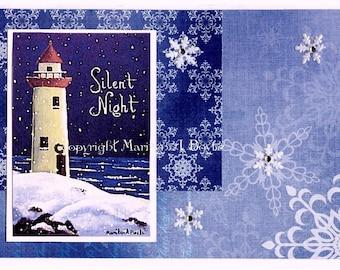 CHRISTMAS CARDs - LIGHTHOUSE; 5 X 7 inch, blank card, Maritimes, original art, greetings silent night, set of four