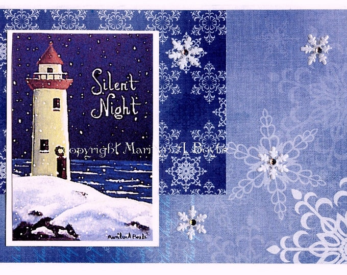 CHRISTMAS CARDs - LIGHTHOUSE; 5 X 7 inch, blank card, Maritimes, original art, greetings silent night, set of four