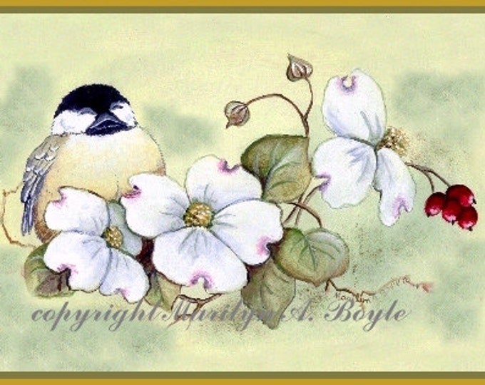 ACEO CARD CHICKADEE; Limited Edition run of 6, dogwood, flowers, garden nature, wings, feathers, miniature art, 2.50 x 3.50 inches