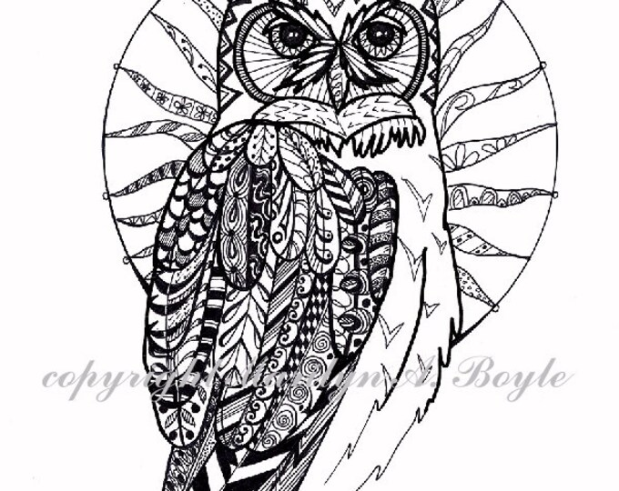 ORIGINAL ZENTANGLE OWL:Great Horned Owl, free shipping, wildlife, wall art, pen and ink, wings, feathers, 8.5 x 11 inches