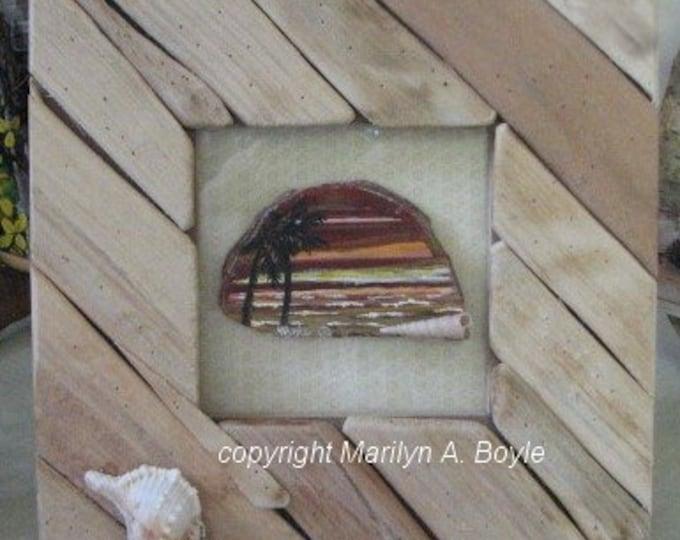 HAND PAINTED AGATE; stone, original art, shells, unusual wood frame, 7 x 7 inches, shelf art, miniature art, one of a kind