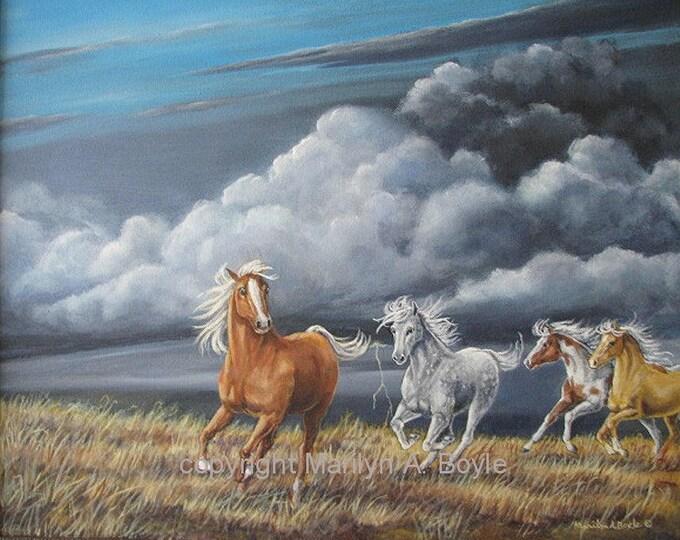ORIGINAL ACRYLIC PAINTING;Horses,free shipping, Canadian art, 16 x 20 inches,horses running,stormy skies, lightning, nature,