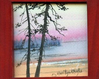 WATERCOLOR PAINTING-MINIATURE; 4 X 4 Inch framed, wood frame, metal stand, wall art, Canadian art, miniature collection,