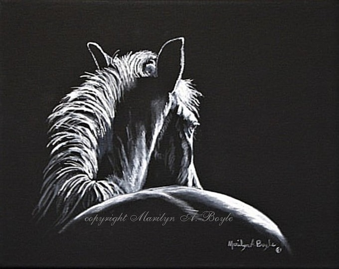 ORIGINAL HORSE PAINTING; acrylic limited palette on black, wrap around canvas, 11 x 14 inch, wall art, horse silhouette, one of a kind,