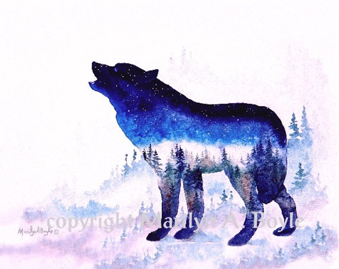 PRINT-SPIRIT of the WILDERNESS -Wolf, nature, one of a series of 4 prints, wildlife, wall art, Canadian art, blue color, lone wolf print