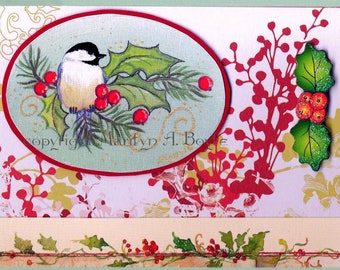 ACEO CHRISTMAS CHICKADEE; 2.5 X 3.5 inches, miniature art, collector's item, collage, from my original art, gift giving,