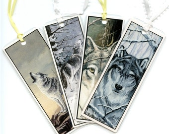 WOLF BOOKMARKS - SET of four; different paintings of wolves, two howling, two faces, from original art, wildlife, nature, laminated