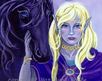 PRINT - BLACK UNICORN; Elf Lady, fantasy, 8 x 10 inch, unicorn with turquoise horn and eyes, gift any occasion, wall art,