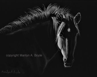 HORSE- ORIGINAL PAINTING; black and white, limited palette, 8 x 10 inch wrap around canvas, wall art,