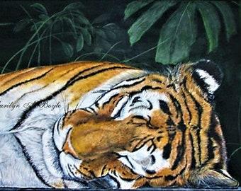 ORIGINAL TIGER ART; acrylic on 15 x 30 inch wrap around canvas, wall art, safari art, Canadian art, sleeping tiger,  realistic art,