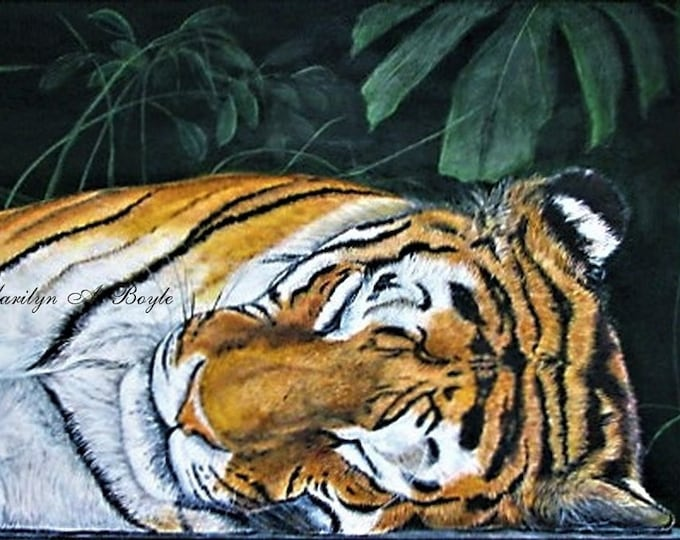ORIGINAL TIGER ART; acrylic on 15 x 30 inch wrap around canvas, wall art, safari art,
