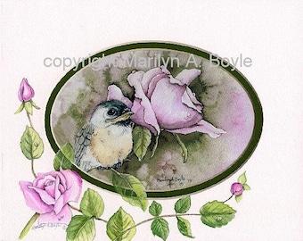 HAND PAINTED MAT; baby chickadee print, roses, wall art, one of a kind, enhanced mat, 8 x 10 inches, original print, original art