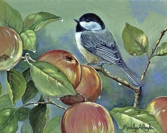 PRINT - CHICKADEE and APPLES; after the rain, in the garden, apple tree, bird, wall art,from my own original acrylic painting