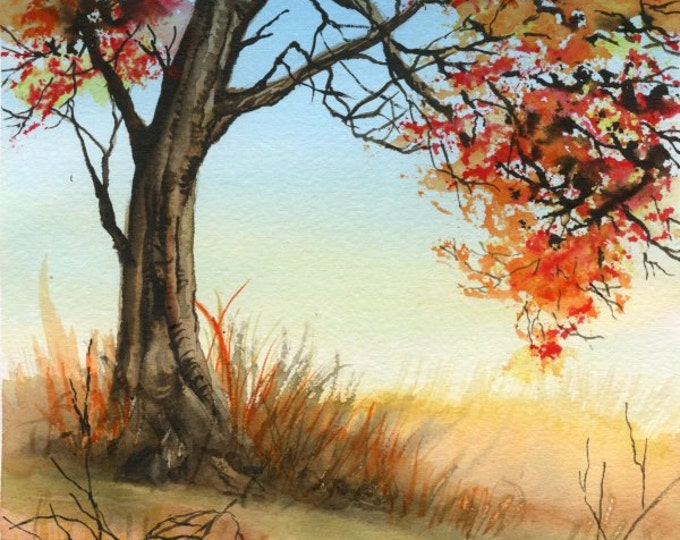 ORIGINAL WATERCOLOR PAINTING;art, scene, autumn, tree, watercolor, nature, autumn colors, wall art, gift for any occasion, 7 x 10 inches.