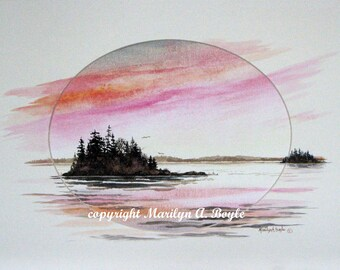 CANADIAN ART WATERCOLOR Original,free shipping, painting extended on to the mat, island, lake, sunrise, matted 11 x 14 inches, cream mat,