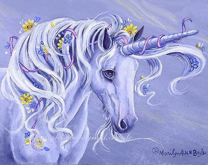 FANTASY PRINT- UNICORN; daydreams, wall art, 8 x 10 print, flowers, blue print or a grey print