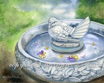 ORIGINAL WATERCOLOR PAINTING;8 x 10 inch matted, bird bath, stone, wall art, garden, nature, miniature art,