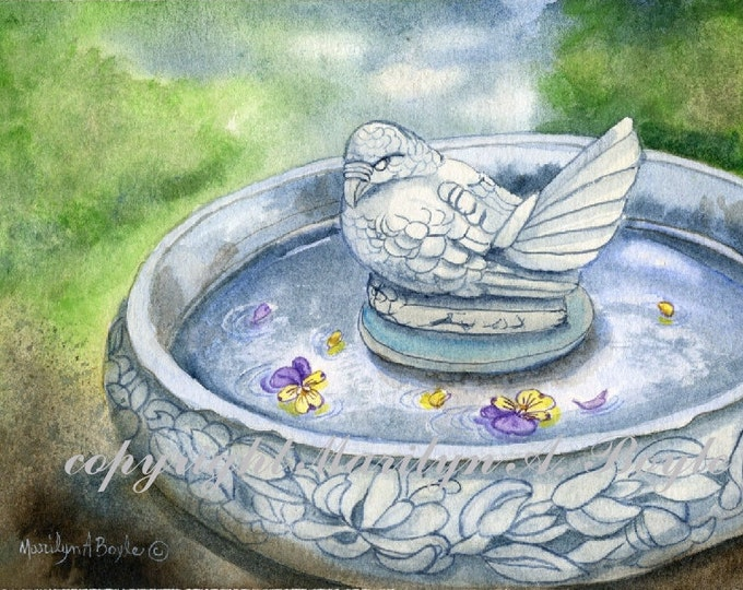 ORIGINAL WATERCOLOR PAINTING;8 x 10 inch matted, bird bath, stone, wall art, garden, nature, miniature art,