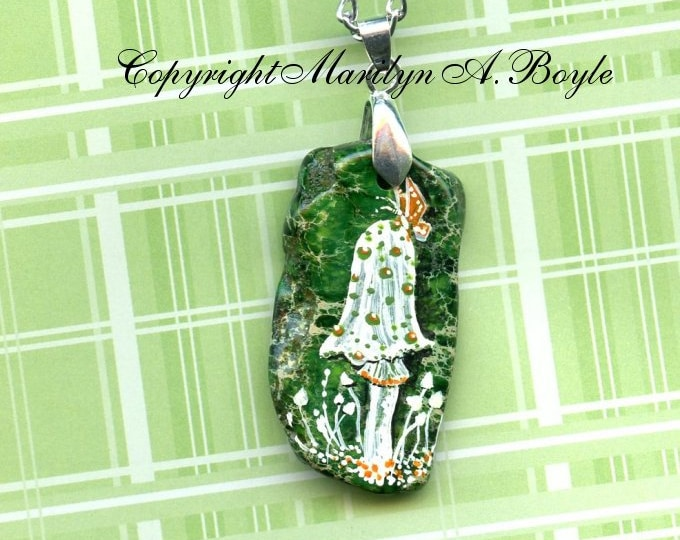 HAND PAINTED STONE; pendant, mushroom, butterfly, green stone, one of a kind, wearable art, jewelry, necklace, unique