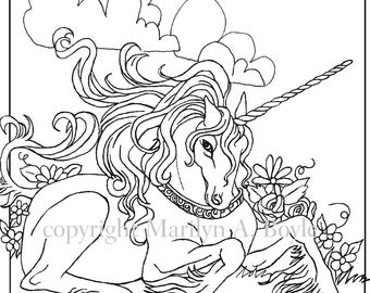 DIGITAL DOWNLOAD UNICORN,adult coloring page, fantasy, unicorn, golden collar, lying down, flowers, adult coloring, original art