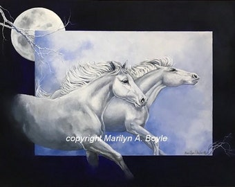 HORSES ORIGINAL ART; equine art, acrylic painting, two white horses running, moon, ethereal, Canadian art,