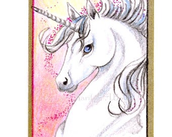 ORIGINAL ACEO-UNICORN; pencil crayon, sparkle, gold ink border,gold washi tape, 2.50 x 3.50 inches,miniature art, collectible