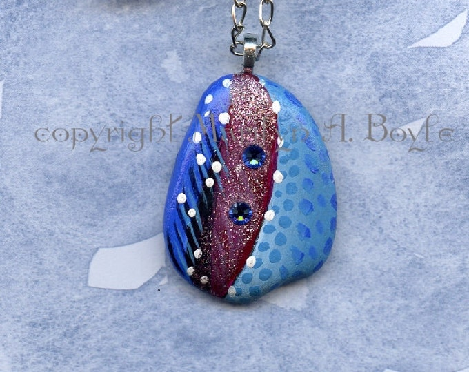 ORIGINAL HAND PAINTED Stone; abstract art, sparkles, two blue Swarovski crystals, necklace, jewelry, pendant, Canadian art, wearable art