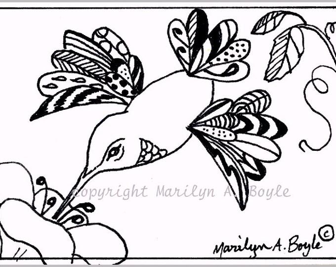 ACEO card - ORIGINAL INK Drawing, zentangle,hummingbird, wings, feathers, doodling, flower, wildlife, bird, 2.5 x 3.5 inches, miniature art