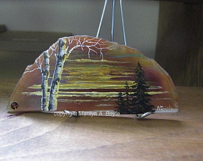 ORIGINAL PAINTING on AGATE; sunset scene, one of a kind, shelf and desk art, miniature art, Canadian art, trees,