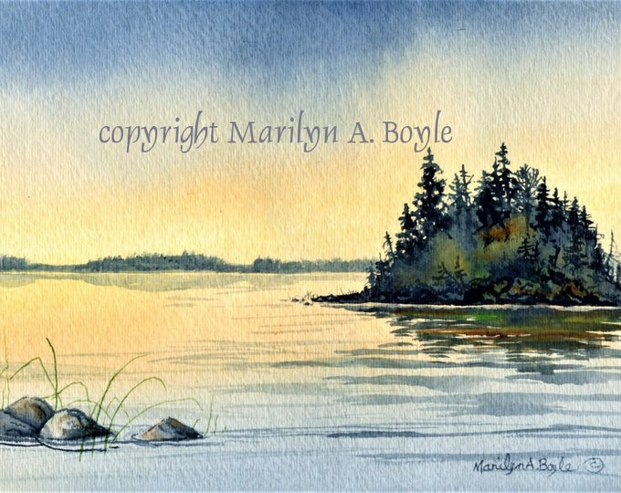 ORIGINAL WATERCOLOR PAINTING; scene, lake and island, sunrise, wall art, Canadian art, wilderness, nature, originalsandmoreart