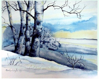 ORIGINAL WATERCOLOR LANDSCAPE; Winter scene, hoarfrost, birches, sunrise, Canadian art, 11 x 14 inches, wall art