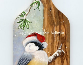 ORIGINAL HAND PAINTED Wood board, ready to hang for winter, cute chickadee with santa hat, wall art, one of a kind,