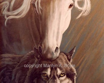 COMPANIONS - CANVAS PRINT;  12 x 16 inch ready to hang, horse and wolf, soft image, fantasy, wall art