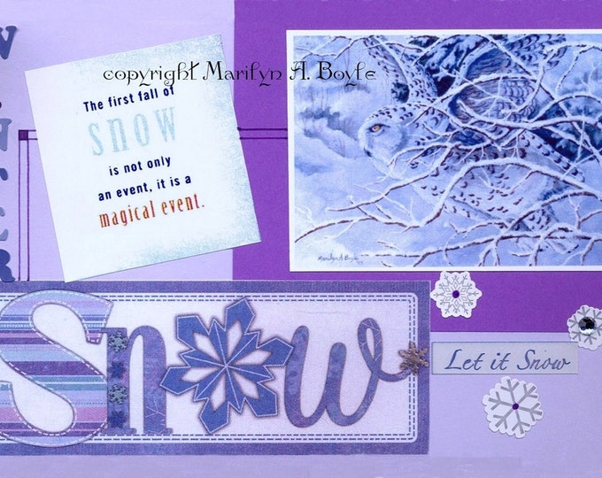 CHRISTMAS ACEO CARD; 2.5 x 3.50 inches, snowy owl, collage, miniature art, from original art, purple color,