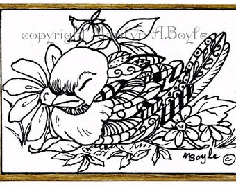 ORIGINAL pen and ink ACEO CARD; Zentangle bird in the garden, pen and ink, 2.5 x 3.5 inches, miniature art,  art on the back,