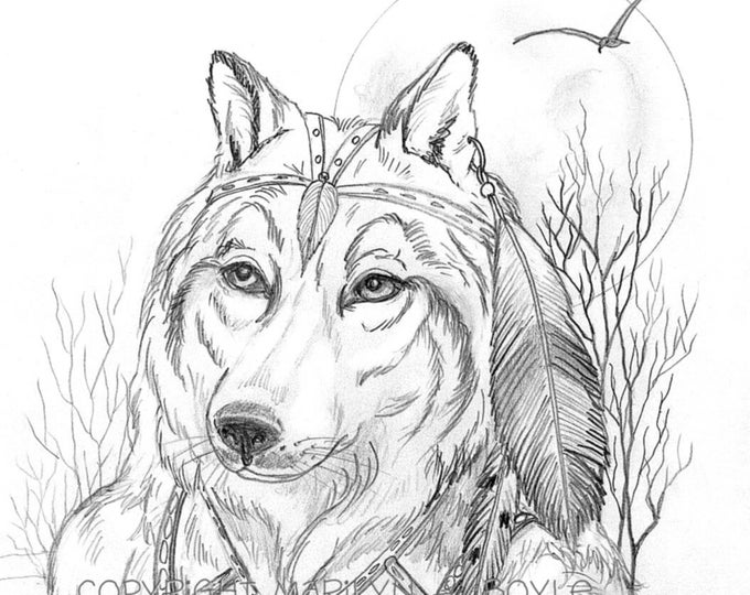 PRINT- WOLF ANTHRO; drawong, Fantasy; wall art, from a pencil drawing, character portrait.