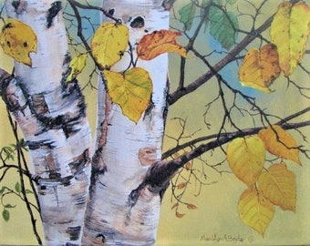 BIRCH TREES -ORIGINAL; acrylic painting, 11 x 14 inches on wrap around canvas, in the trees, bird's eye view, Canadian art