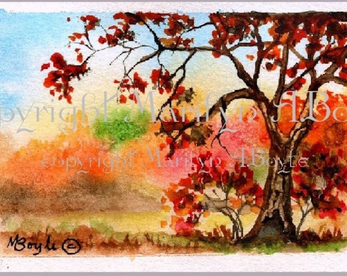 ORIGINAL WATERCOLOR ACEO, 2.50 x 3.50 inches, autumn scene,miniature art, 90 lb watercolor paper, Canadian art, collectible