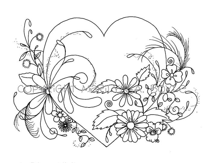 ADULT COLORING PAGE; digital download, Valentines Day,  heart and flowers, original ink drawing, zentangle, doodling