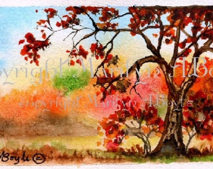 ACEO ORIGINAL PAINTING; acrylic autumn scene, on 90 lb watercolor paper, white border, miniature art,
