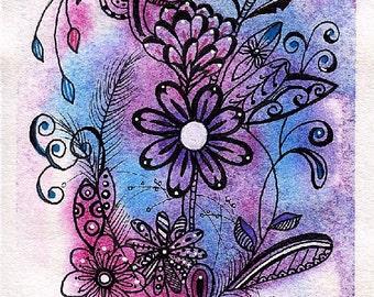 ORIGINAL ZENTANGEL WATERCOLOR; free shipping, Flowers, doodling, on 140 lb watercolor paper, garden, miniature art