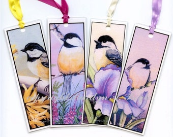 BOOKMARKS - SET of FOUR Chickadees, art, prints, garden, flowers, wings, feathers, scrapbooking,