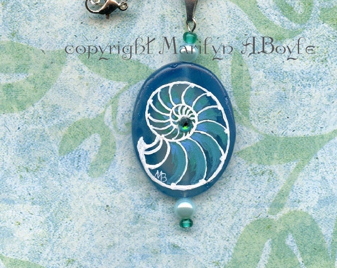 STONE PENDANT- HAND Painted; nautilus, under the sea, blue stone,pearl beads, Swarovski crystal, wearable art, jewelry, necklace, original