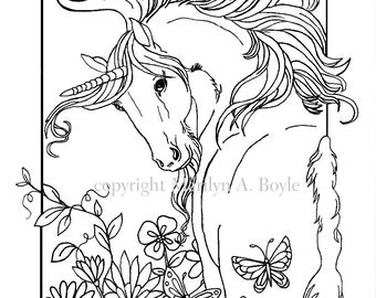 COLORING BOOK- Five PAGES, digital download, Fantasy, unicorns, flowers, butterflies, chickadees, original art