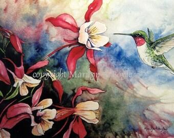 HUMMINGBIRD PRINT- RUBY Throated, wall art, columbine flowers, garden, garden bird, from one of my watercolor paintings