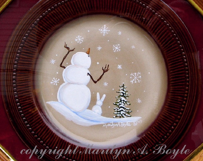 HAND PAINTED PLATE,snowman, bunny, snowflakes, snowing, original art, original acrylic painting, china plate, hand made