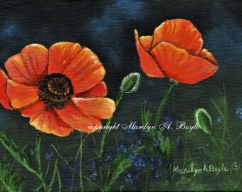 5 X 7 INCH ORIGINAL PAINTING; Poppies, wall art, Canadian art, acrylic, miniature art, framed, garden, flowers,