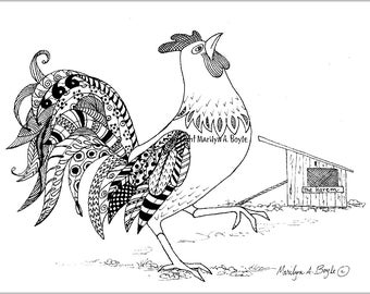 ORIGINAL INK ROOSTER Drawing, barnyard, feathers, doodling, rooster, art, wings, black and white, zentangle,
