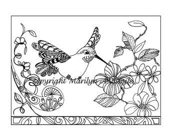 Kleurplaten Bloemen Vogels.Volwassen Kleurplaat Kolibrie Natuur Tuin Zentangle Etsy